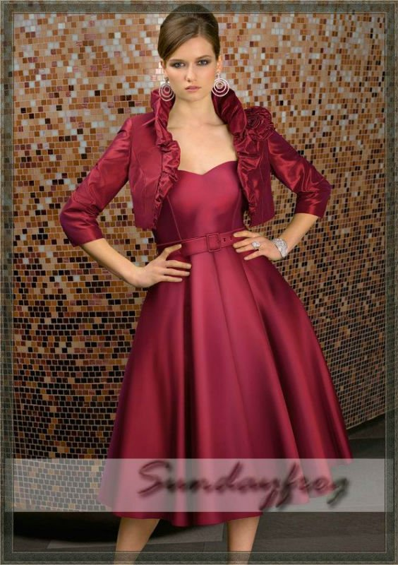 Free shipping 2012 custom made a line cocktail dress for Tea length wedding dress with bolero jacket