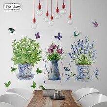 DIY наклейки на стену горшок для комнатных цветов Бабочка домашний декор ванная комната наклейки водонепроницаемый озеленение украшение дома художественные наклейки