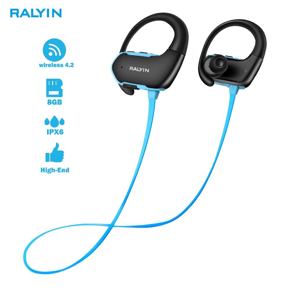 Ralyin 8G Mp3 Player IPX7 Waterproof Wireless Earphones sport bluetooth 4.2 earphone MP3 headset Headphones With Mic for xiaomi