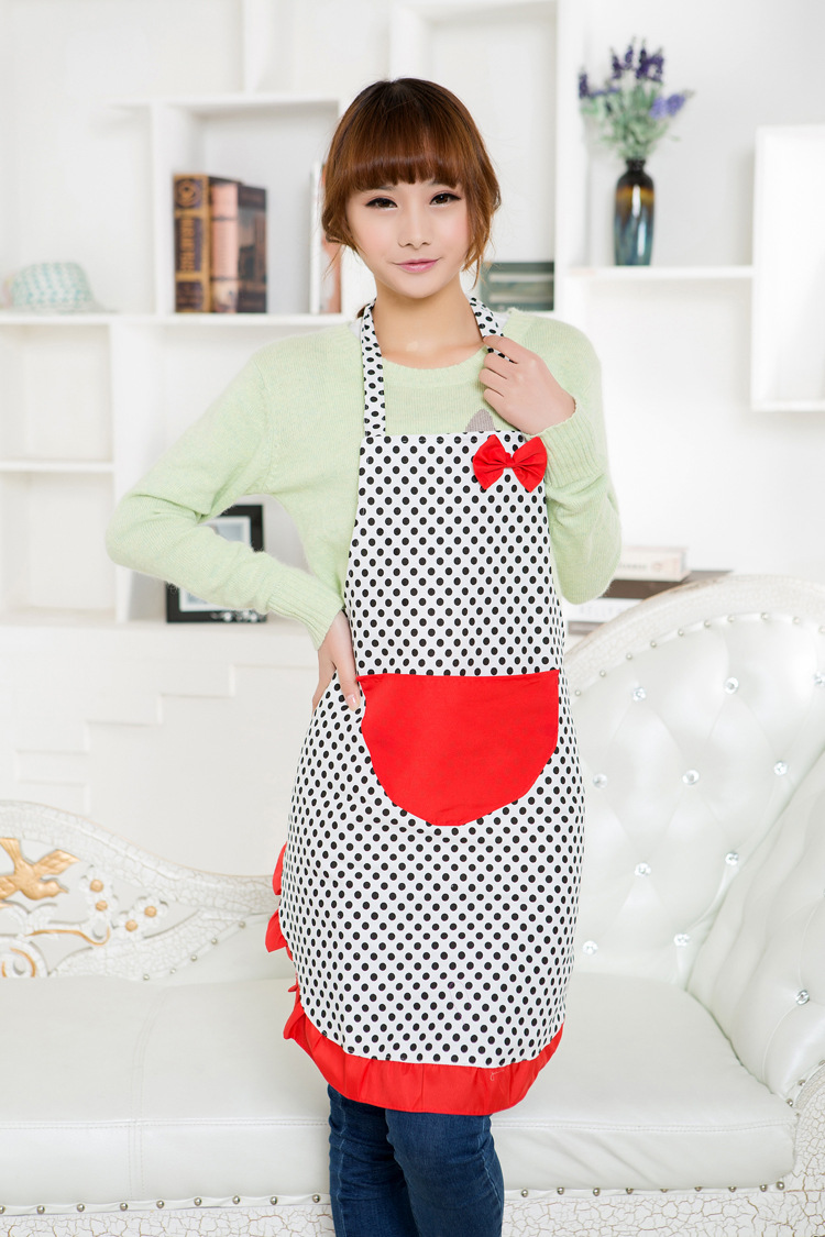 Hanging neck bowknot dot canvas apron, kitchen supplies, household items, cooking tools