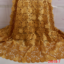 Latest Nigerian Lace Fabrics with Beads High Quality 2019 Laser Cut Lace Fabric African Lace Materials for Women Dress APW2491B