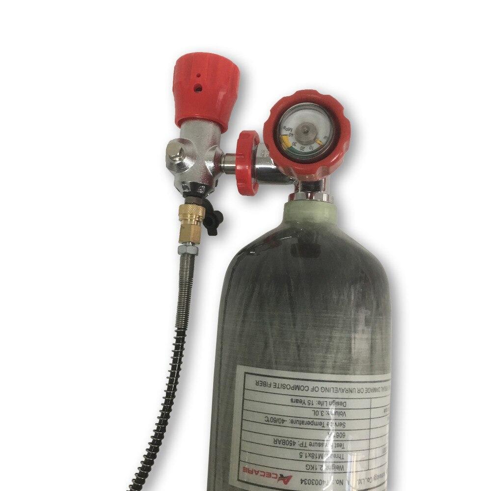 Acecare 3L 4500Psi 300bar huntingaccessories fiber de carbone cylindre pour le pcp pistolet à air pour tir avec valve et station de remplissage