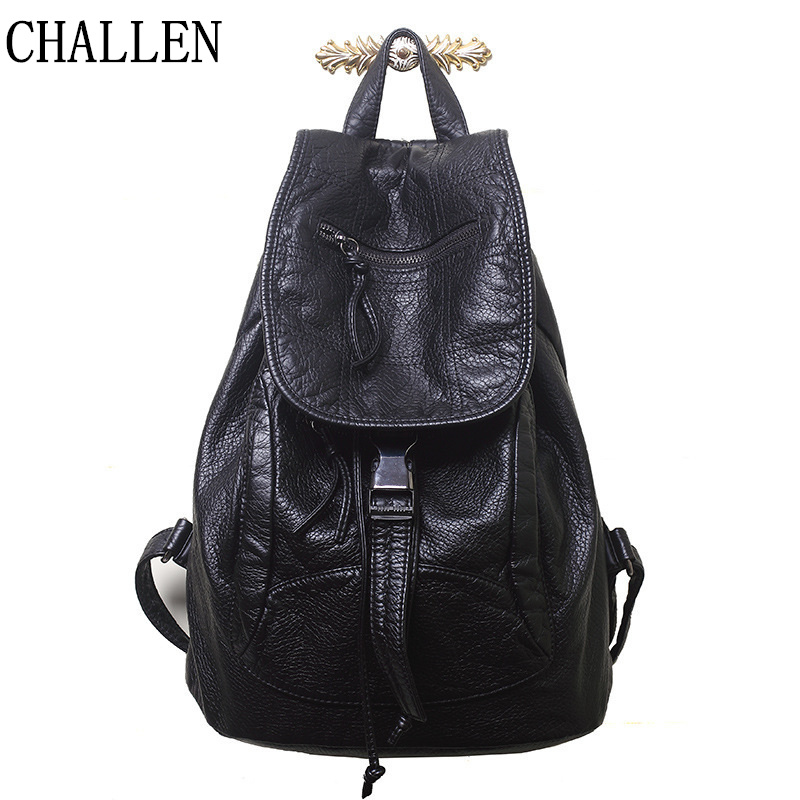 2018 New Designer Washed Leather Bag High grade Soft Leather Women Backpacks Bolsos Mujer School Backpack for Girls Travel Bag-in Backpacks from Luggage & Bags on AliExpress - 11.11_Double 11_Singles' Day 1