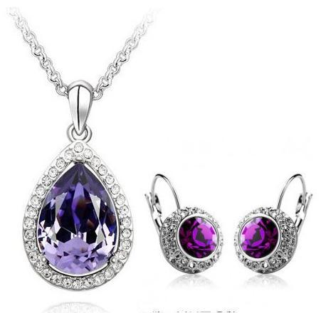 Fashion New Austria Crystal Rhinestone Earrings Necklaces Jewelry Sets Wholesale B12 ABC
