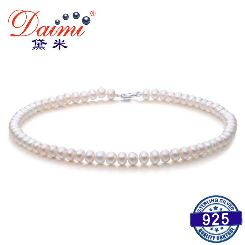 DAIMI 6-7MM Natural Freshwater Pearl Necklace White Pearl Single Necklace For Women Choker Necklace vintage layered faux pearl bar choker necklace for women