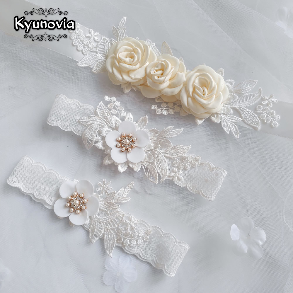 Kyunovia Sexy Women Girls Princess Appliques Lace Garter Belt Leg Ring Bridal Dress Accessories Flower Belt Sash WeddingBelt D93