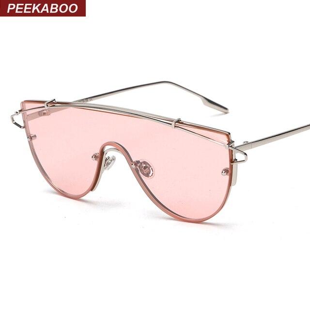 Coucou mode marque lentille d une seule pièce lunettes de soleil femmes  métal vintage surdimensionné 63d42e19816b