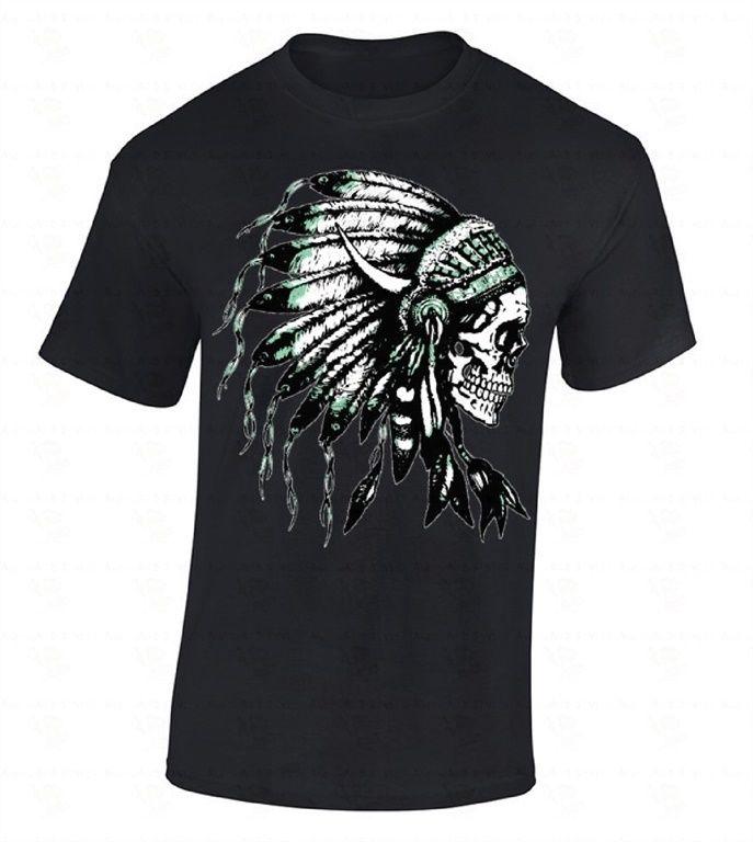 Headdress Skull T-SHIRT Native American Feathers Indian Tribal Southwest Shirt Summer O-Neck Hipster Tops top tee