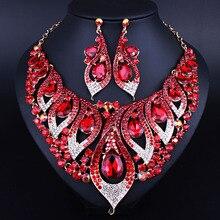 Joyería india Petunia forma Color Crystal rhinestone del Pendiente Del Collar de Moda Africana sistemas de La Joyería Nupcial