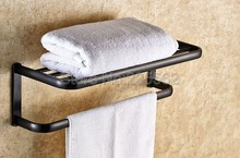 NEW Black Oil Rubbed Bronze Wall Mounted Bathroom Towel Rail Holder Storage Rack Shelf Bar lba199