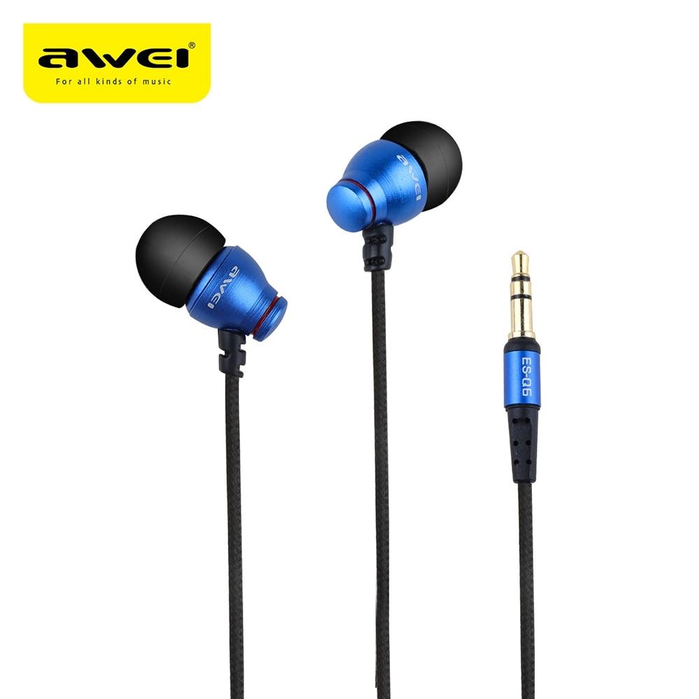 2017 Hot Sale AWEI ES Earphones AWEI ES-Q2 ES-Q6 ES-Q8 3.5MM Plug Stereo Music Deep Bass In-ear Earphones AWEI ES Earphones