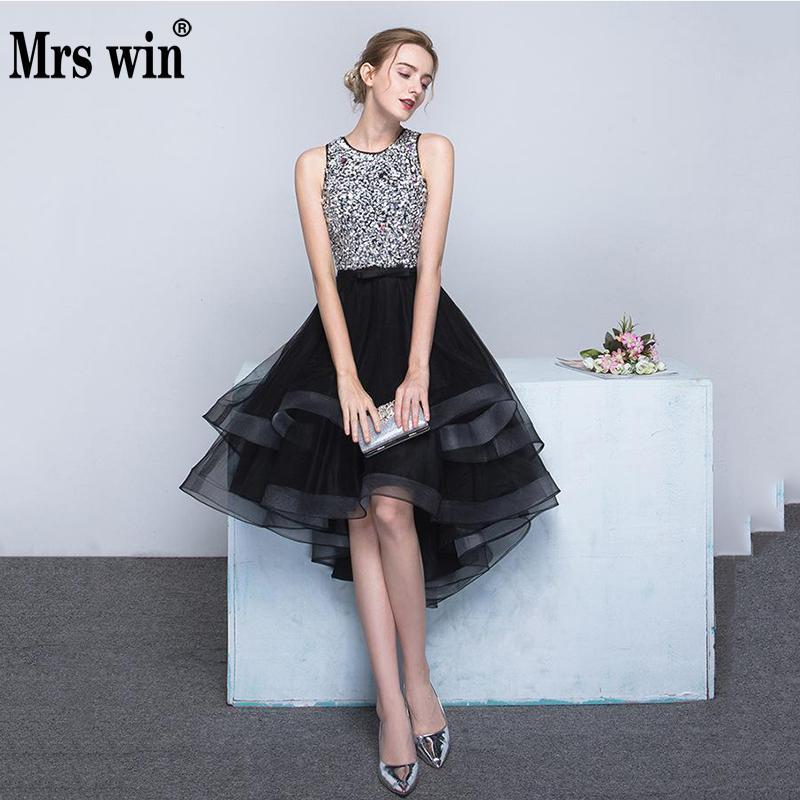 2019 Evening Dress Mrs Win The Luxury Beading Front Short Back Long Party Prom Formal Robe De Soiree Noble Vestido De Festa F