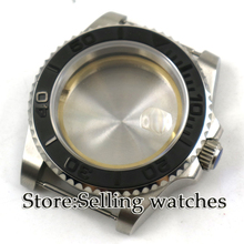 40mm parnis Sapphire Glass Date Rotaating black Ceramic Bezel Steel Watch Case fit 2824 2836 movement