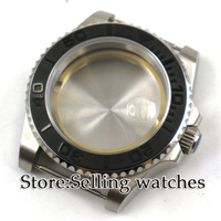 40mm parnis Sapphire Glass Date Rotaating black Ceramic Bezel Steel Watch Case fit 2836 movement