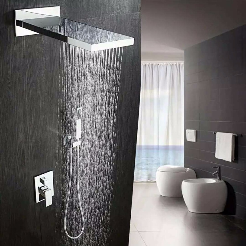 Free Shipping Waterfall In Wall Brass Square Built-in Rainfall Shower Set  Faucet For Bathroom