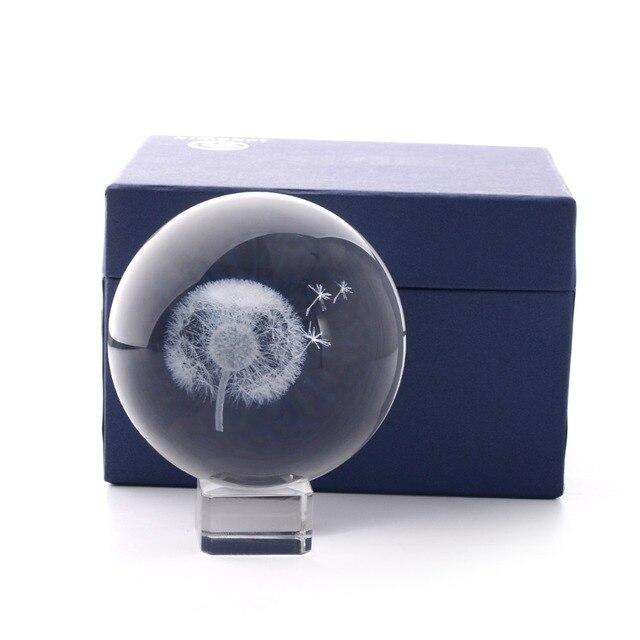 Cristal de diente de león Bola de Feng Shui Oficina de tormenta bolas de vidrio adornos de habitación de diente de león estatua artesanía al por mayor