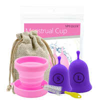 4 PC Medical Grade Silicone Higiene feminina Copo Menstrual e menstrual cup Período copo copo esterilizador com Escova inodoro
