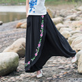 False Two Retro Flower Embroidery Black Harem Pants Women's Casual Trousers Loose Big Yards Palazzo 2017 Spring New