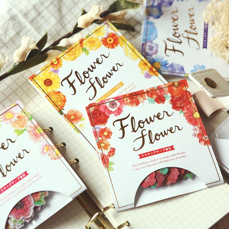 Japanese Style Golding Flowers Decorative Washi Stickers Scrapbooking Stick Label Diary Stationery Album Stickers