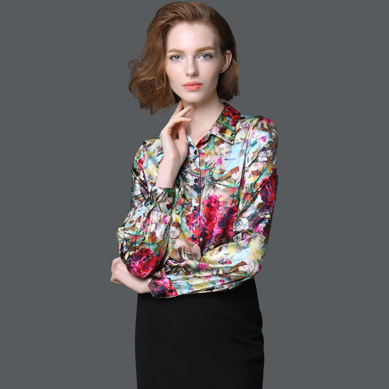 d8ed10312e098 REAL SILK blouse Women long sleeve Plus size Blouses work Brand Print Satin  Blusas femininas Office lady STRETCH 2018 NEW shirt-in Blouses   Shirts  from ...