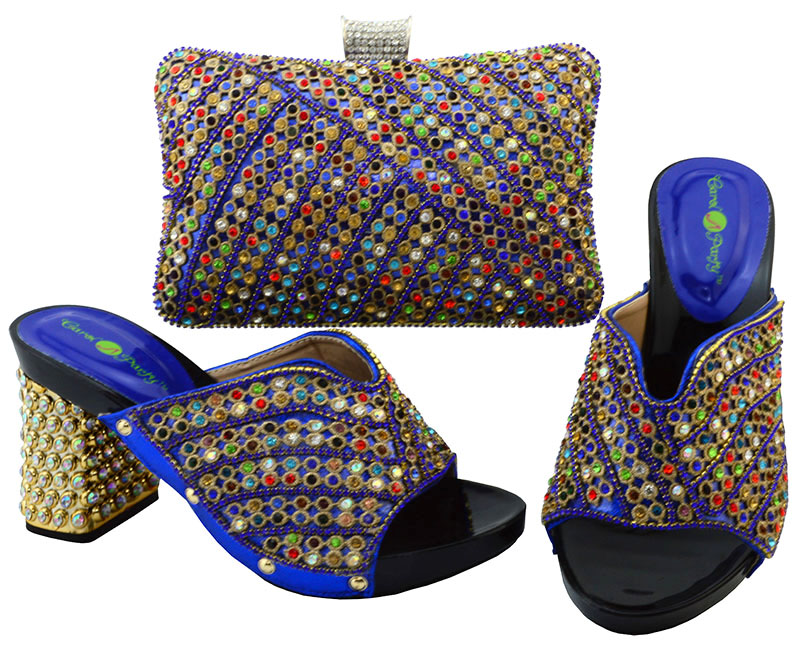 Free shipping royal blue shoes and bag set SB8089 fashion italy shoes matching bag set with many colorful stones size 38 to 43 cd158 1 free shipping hot sale fashion design shoes and matching bag with glitter item in black