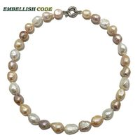 2015 Hot Mix White Pink Purple Color Baroque Irregular Special Stely Real Freshwater Pearls Necklace Jewelry