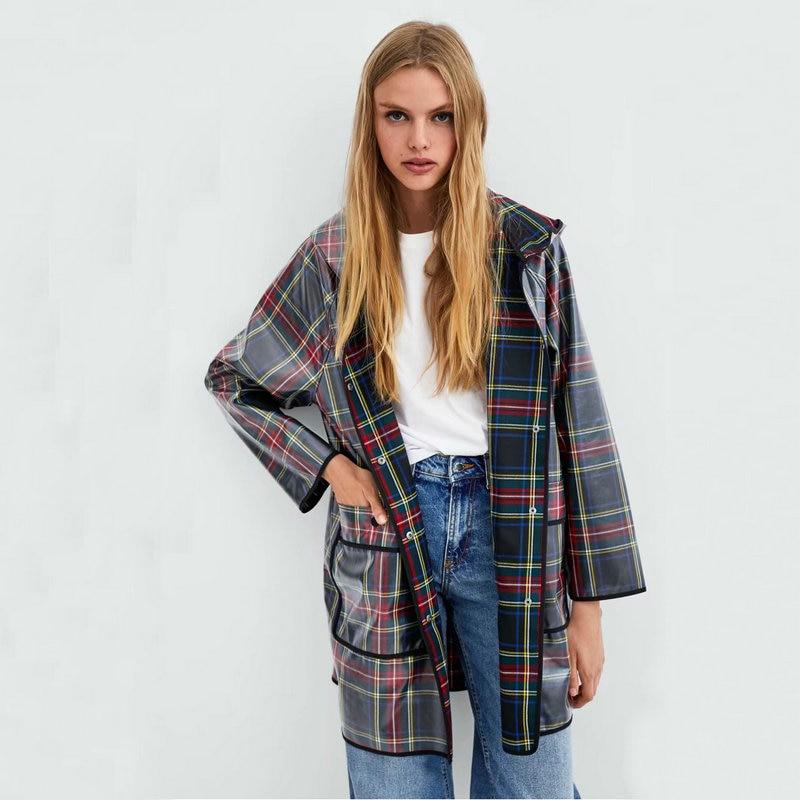 New Casual Plaid Printed Waterproof Raincoat Hooded   Trench   Cool Fashion Coat Women Long Sleeve Autumn Winter Female Coat