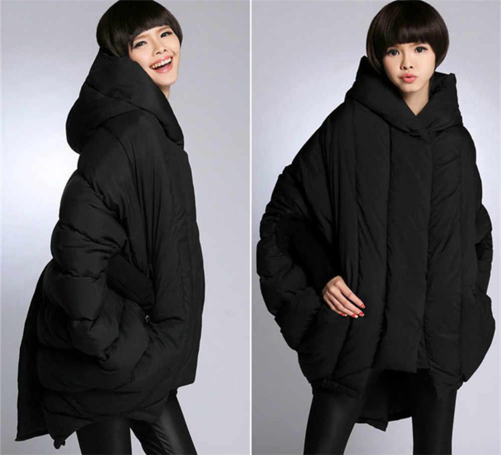 Новый Женская куртка-парка bat рукавами 2017 зима средней длины утка Подпушка свободные куртки сращены вязаные рукава женские пальто свободного кроя высокое качество