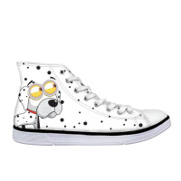 Fashion Men Vulcanize Shoes Animals Dog Pattern Shoes Men's High top Sneakers Walking Black Polka Dot Flats Male Shoe