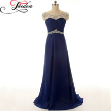 JAEDEN A Line Bridesmaid Dresses Beading Crystal Backless Sexy Elegant Chiffon Floor Length E035 Scoop Party Dress 2017