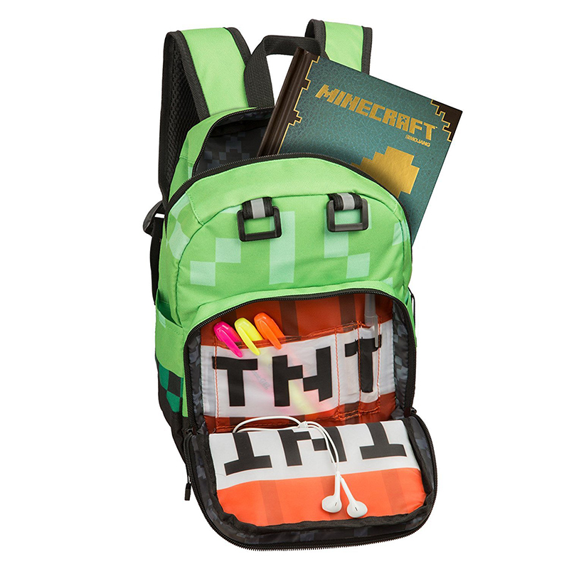 High Quality Green Children Backpack Minecrafted Hot selling Sell Cartoon Boy Girl Schoolbag Children Bags Kids