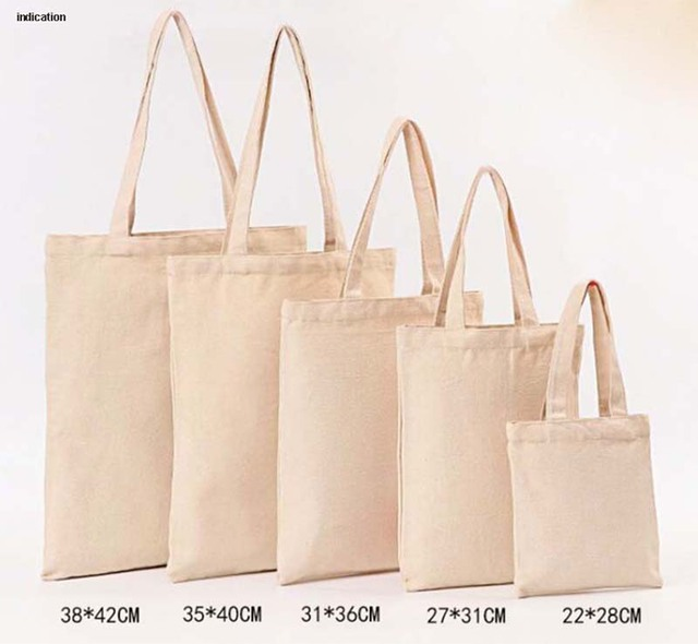 100pcs Size 20cm 22cm Canvas Cotton Tote Bag Customized Logo Fashion Women Eco For