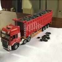 Children's alloy toy dump truck tipper semi trailer engineering large truck simulation boy truck model W95