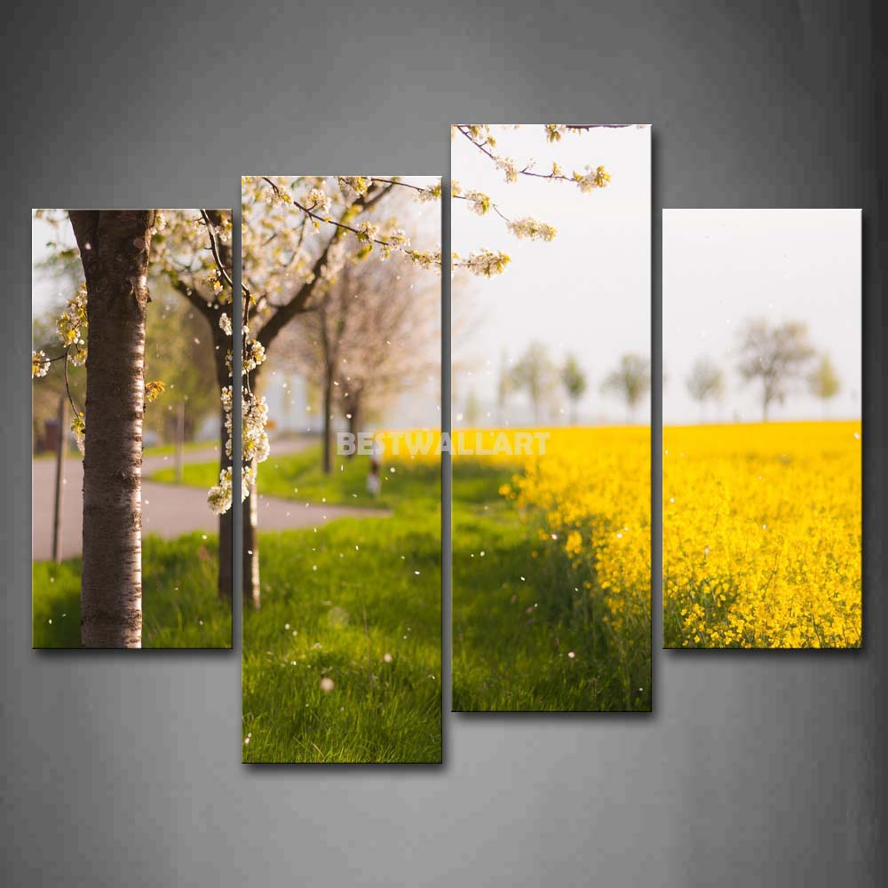 Flower Trees And Yellow Flower Field In Spring 4 Piece Painting On ...