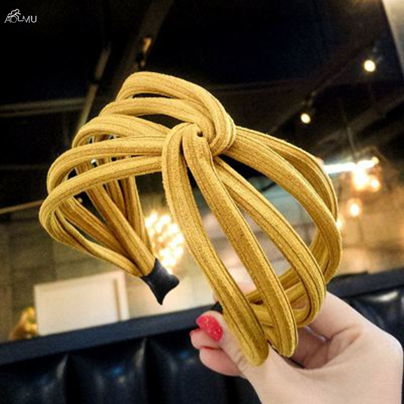 AOMU 1Pcs Women Wide Headband Korea Cloth Hollow Hair Accessories Hair Hoop Bright Yellow Solid Color For Women Jewelry
