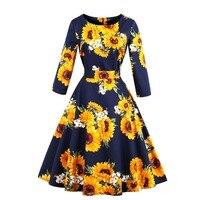 Autumn Women Sunflowers Print Casual Party Dress O Neck Elegant 2019 Female Retro Rockabilly Vintage Dresses 50s 60s Vestidos