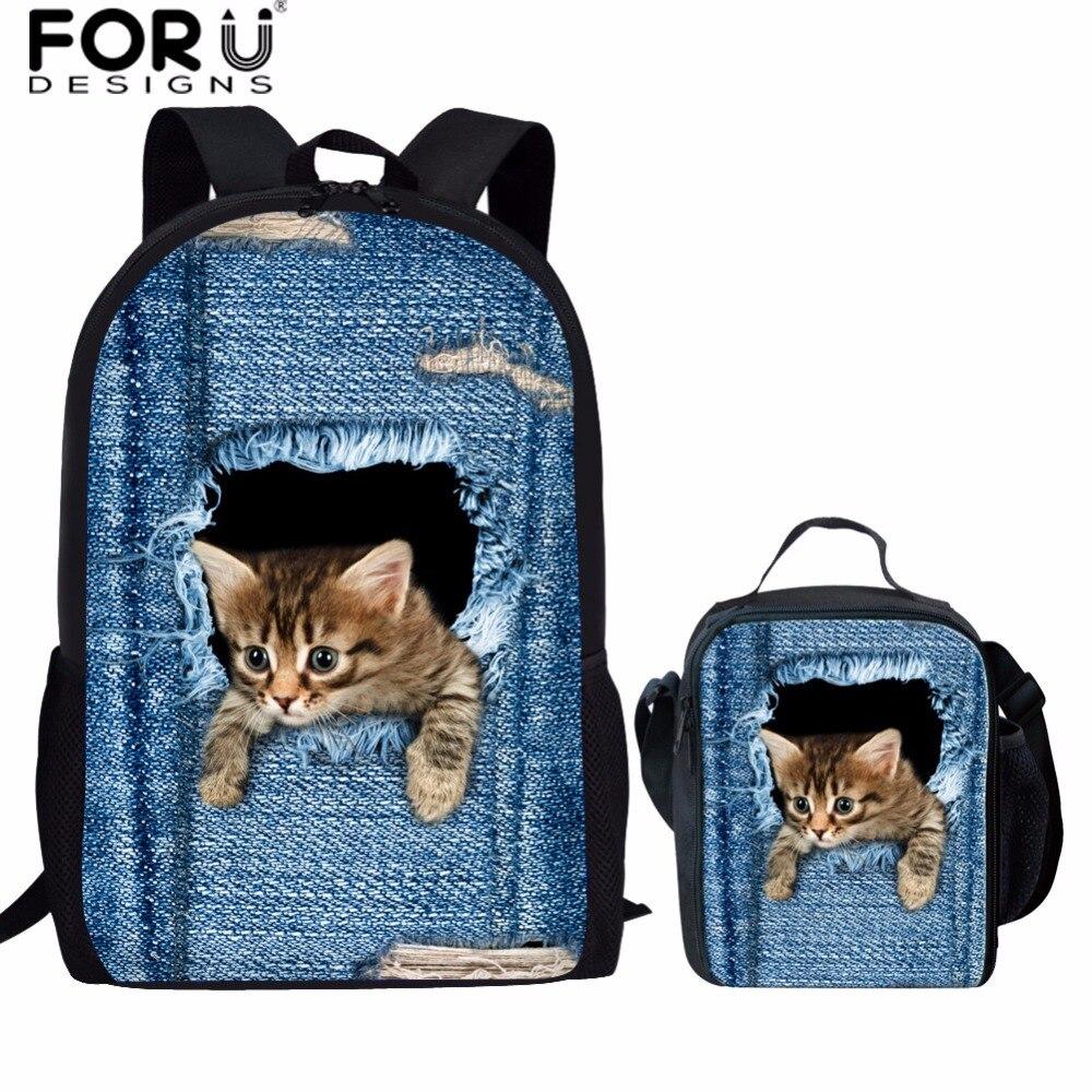 FORUDESIGNS Denim Cat Children School Bags For Girls School Backpack Set Kids Backpacks Mochila SchoolBag Kids Satchel Schoolbag