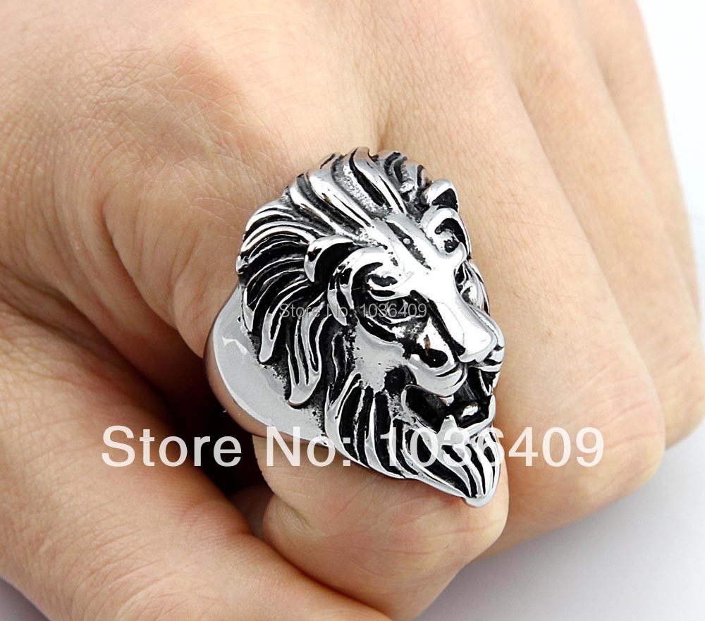 biker lion stainless rc steel head custom rings