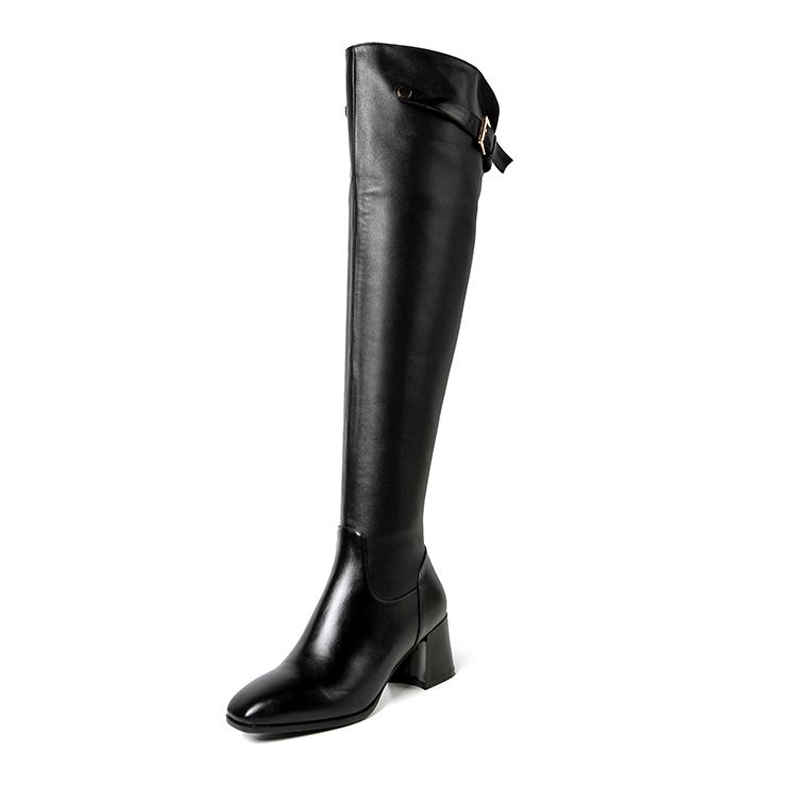 2017 Genuine Leather Over The Knee Women Boots High Quality Thick Heels Fall Winter Boots Buckle Zip Cow Leather Shoes Woman big size 33 43 2016 new style thick heels high quality zip knee boots cozy buckle charm add fur fall winter boots women shoes