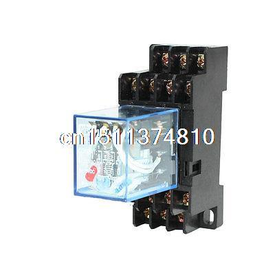 HH54P DIN Rail 24VAC Coil 4PDT 14P General Purpose Power Relay w DYF14A Base hh54p din rail 12vdc 24vdc 24vac 110vac 220vac coil 4pdt 14p general purpose power relay w dyf14a base
