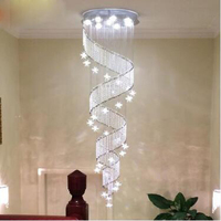 Crystal chandelier round spiral Villa double staircase lamp long chandelier Living room lamp dinning lantern modern simple LED