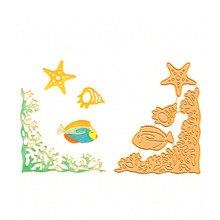 Naifumodo оправа для морского дна угловая металлическая резка Скрапбукинг Морская звезда океаны Рыба для DIY карточное украшение ремесло резка новое поступление
