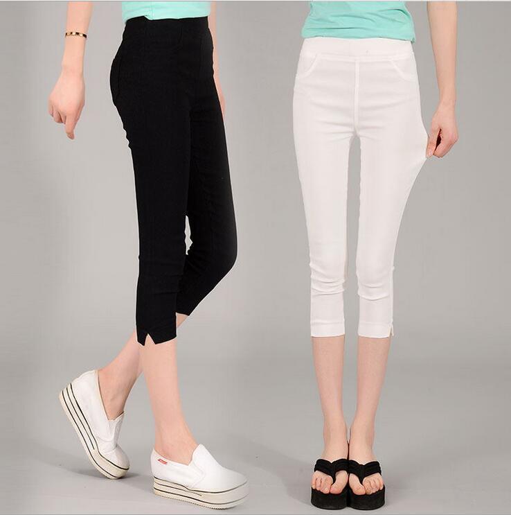 S-XXXXL Plus Size Women Leggings 2016 Summer Stretch Slim Seven Points  Leggings Solid Color Casual Pants Leggins Jeggings BH849 - Plus Size Colored Jeggings Promotion-Shop For Promotional Plus