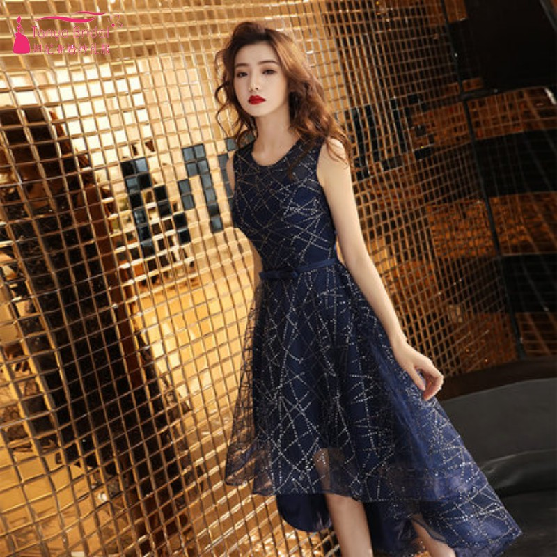 TANYA   Cocktail     Dresses   Short Front Long Back High Low Navy Blue Lace Party   Dress   Gown Real Photo DQG865