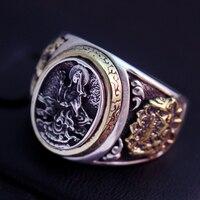 Mens 925 gümüş yüzük gümüş ejderha deniz gümüş yüzük sunar bir Buddism godness Guanyin erkek