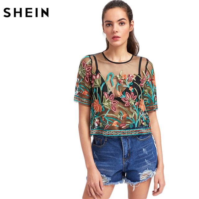 2699e8a83f SHEIN Sexy Blouses for Women Buttoned Keyhole Botanical Embroidered Mesh Top  Summer Multicolor Short Sleeve Blouse