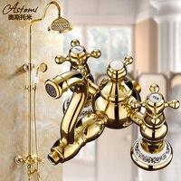 Luxury Golden Shower Bathroom Brass Rainfall Shower Set Faucet With Mixer Taps Wall Mounted Waterfall And Rainfall Shower Head