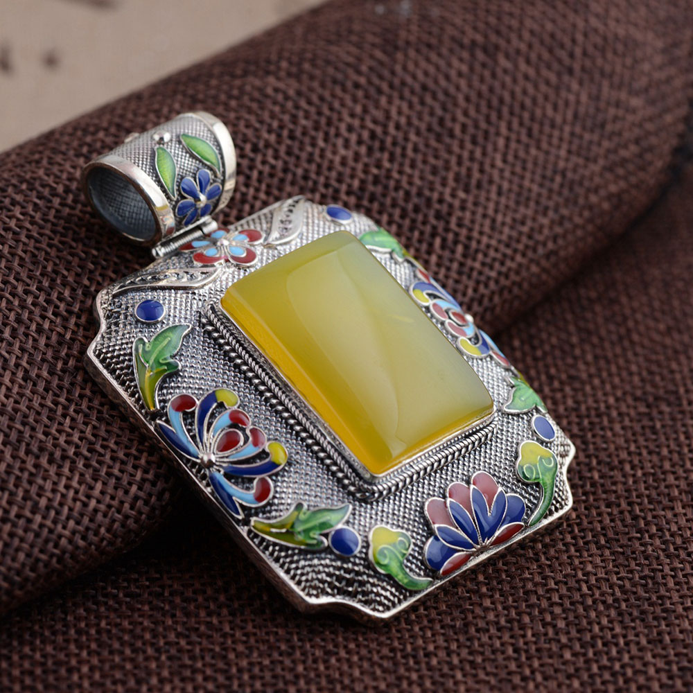 FNJ 925 Silver Square Pendant New Fashion Shaolan Pure S925 Solid Thai Silver Pendants for Women