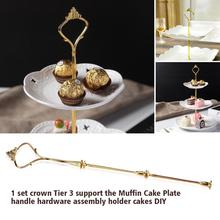3 Tiers Gold Crown Shape Cake Holder Cupcake Fruit Cake Plate Stand Handle Hardware Home Birthday Tools Party Stands Decor