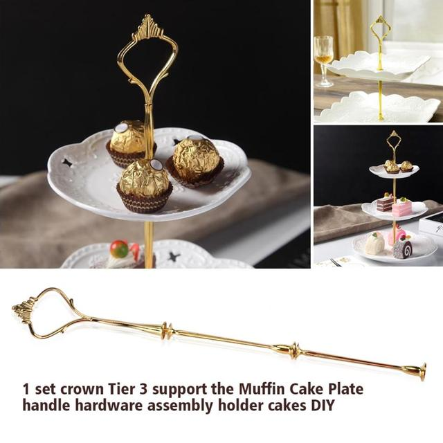 3 Tiers Gold Crown Shape Cake Holder Cupcake Fruit Cake Plate Stand Handle Hardware Home Birthday & 3 Tiers Gold Crown Shape Cake Holder Cupcake Fruit Cake Plate Stand ...